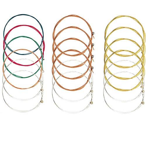 Cuerdas de guitarra para guitarra acústica, 3 juegos de 6 cuerdas de larga duración para repuesto, paquete múltiple de cuerdas de acero (1 juego de cobre, 1 juego de latón, 1 juego multicolor)