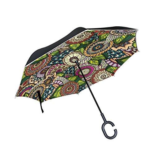 jstel doble capa puede Mandala Ethnic paraguas coches Reverse resistente al viento lluvia paraguas para coche al aire libre con asa en forma de C