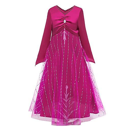 IBAKOM Kinder Mädchen Prinzessin Kleider Karneval Cosplay Kostüm Verkleidung Fasching Langarm Kleid Hosen Festival Party Zubehör Set Rotes Kleid 13-14 Jahre