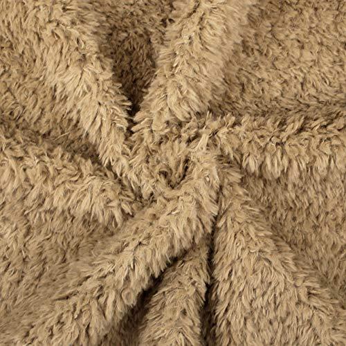 kullaloo Teddyplüsch/Kunstfell Fantanstic Furs Fine Teddy - Meterware 10mm Florlänge 0,5m (braun)