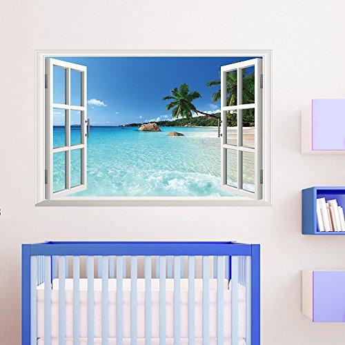AUVS® 3D- Selbstklebende Abnehmbaren Durchbrechen Die Mauer Vinyl Wandsticker/Wandgemälde Kunst Aufkleber Dekorateur (Fenster Mit Meerblick (60 * 90cm))