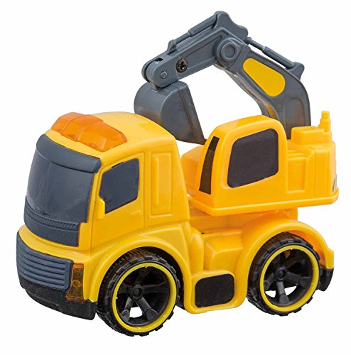 Idena 40015 - Baufahrzeug mit Schwungradantrieb, ca. 6,5 x 10 x 9 cm, sortiert als Müllauto, Mischer, Kipper oder Bagger