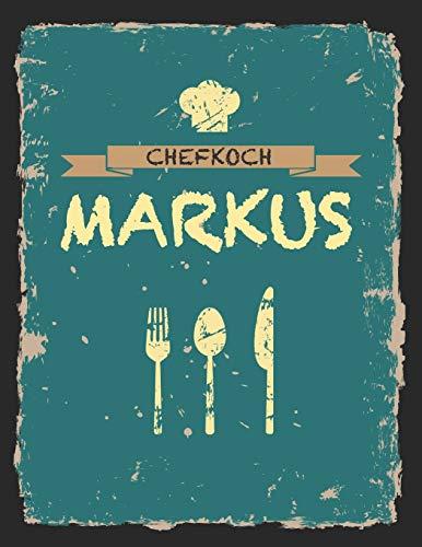 Chefkoch Markus: Das personalisierte Rezeptbuch zum Selberschreiben für 120 Rezept Favoriten mit Inhaltsverzeichnis uvm. – cooles Vintage Design in ... gelb- ca. A4 Softcover (leeres Kochbuch)
