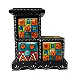 India Meets India Handicraft Crafted Wooden & Ceramic Small Chest of 3 Decorated Drawers Jewellery Organizer Desk Organizer Showpiece Table Décor Pure Hand Decorated Embossed Painting
