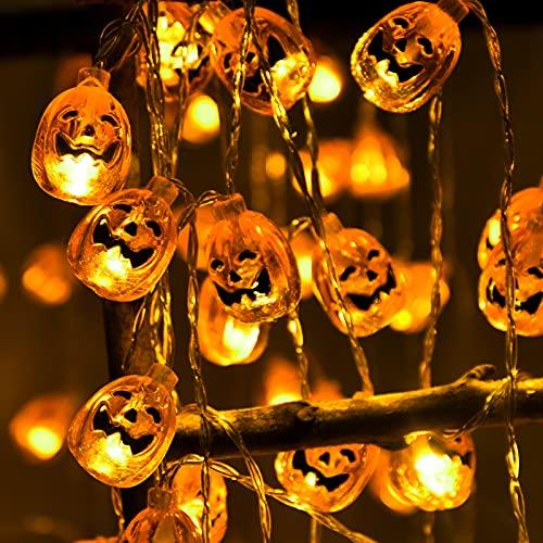 Halloween Deko, OBOVO 3M 9.9ft 20 LED Orange Kürbis Lichterkette Batteriebetrieben Beleuchtung für Allerheiligen, Halloween Party Hause Garten