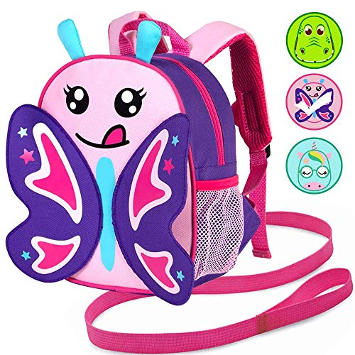 "Toddler Backpack Leash, 9.5"" Safety Harness Butterfly Bag - Removable Tether"