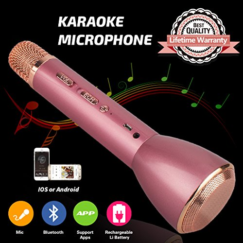 Bluetooth Microfono Wireless, Karaoke Bambino Wireless microfono altoparlante Portatile microfono speaker karaoke senza fili bluetooth Player Compatibile con IOS / Android, PC o tutti gli Smartphone