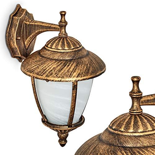 Buitenwandlamp Madrid bruin-goud, wandlamp van gegoten aluminium met echt glas, 1 x E27, 60 Watt, klassieke buitenwandlamp voor terras, tuin en gevels, retro design