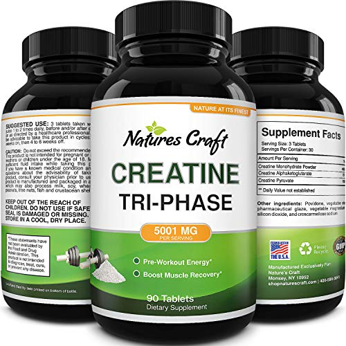 Mass Gainer Creatine Monohydrate Capsules - Natural Creatine Monohydrate Supplement Muscle Builder Pre Workout Energy Booster - Best Creatine Pills for Muscle Recovery Weight Gainer and Muscle Toner