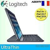 Logitech - Carcasa magnética para Apple iPad Air 1, 2017 y 2018, diseño de teclado francés, color negro