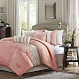 Madison Park Amherst Faux Silk Comforter Set-Casual Contemporary Design All Season Down Alternative Bedding, Matching Shams, Bedskirt, Decorative Pillows, Queen(90'x90'), Coral, 7 Piece