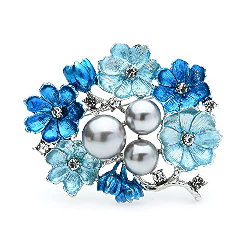 WYYYFA Broches Grandes de Color Azul Perla, alfileres de Broche de Flores de Ramo de Boda de aleación