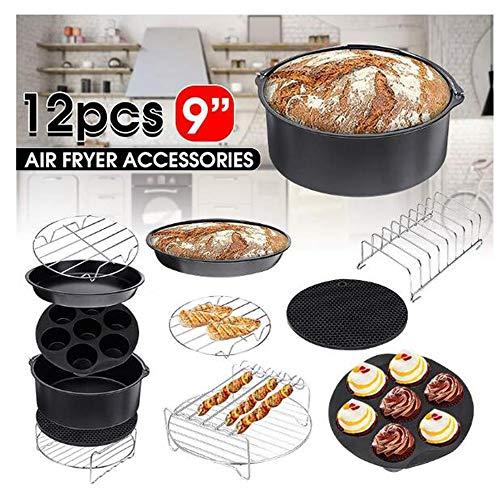 SISHUINIANHUA 12 Stks Air Fryer Accessoires 9 Inch Fit voor Airfryer 5.2-6.8QT Bakmanden Pizza Plaat Grill Pot Keuken Koken Gereedschap voor Party