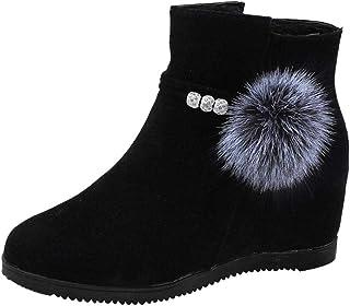 Logobeing Botines Mujer Planos Tacon Zapatos de Mujer Plataforma Botas de Cuña de Punta Redonda con Cremallera Altas Boots Zapatos Calzado(36,Negro)
