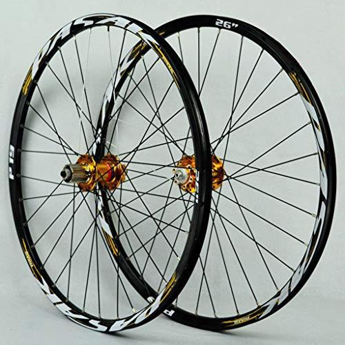 Rueda de bicicleta de montaña Set 26 / 27,5 / 29 pulgadas de aleación de aluminio del freno de disco del borde 32H rápida liberación de caja de rueda libre NOVATEC Oro Oro Hub + Lable (rueda de la rue