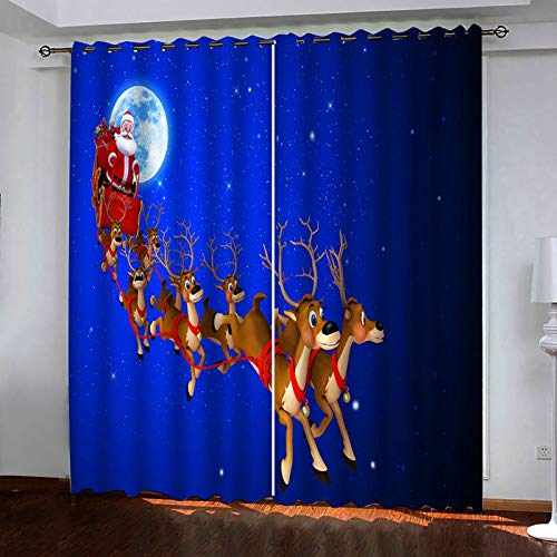 ANAZOZ 2 Paneles Cortinas Dormitorio Opaca Cortinas Exterior Poliester Ciervos y Papá Noel Azul Oscuro Rojo Marrón Cortinas de Dormitorio Tamaño 264x244CM