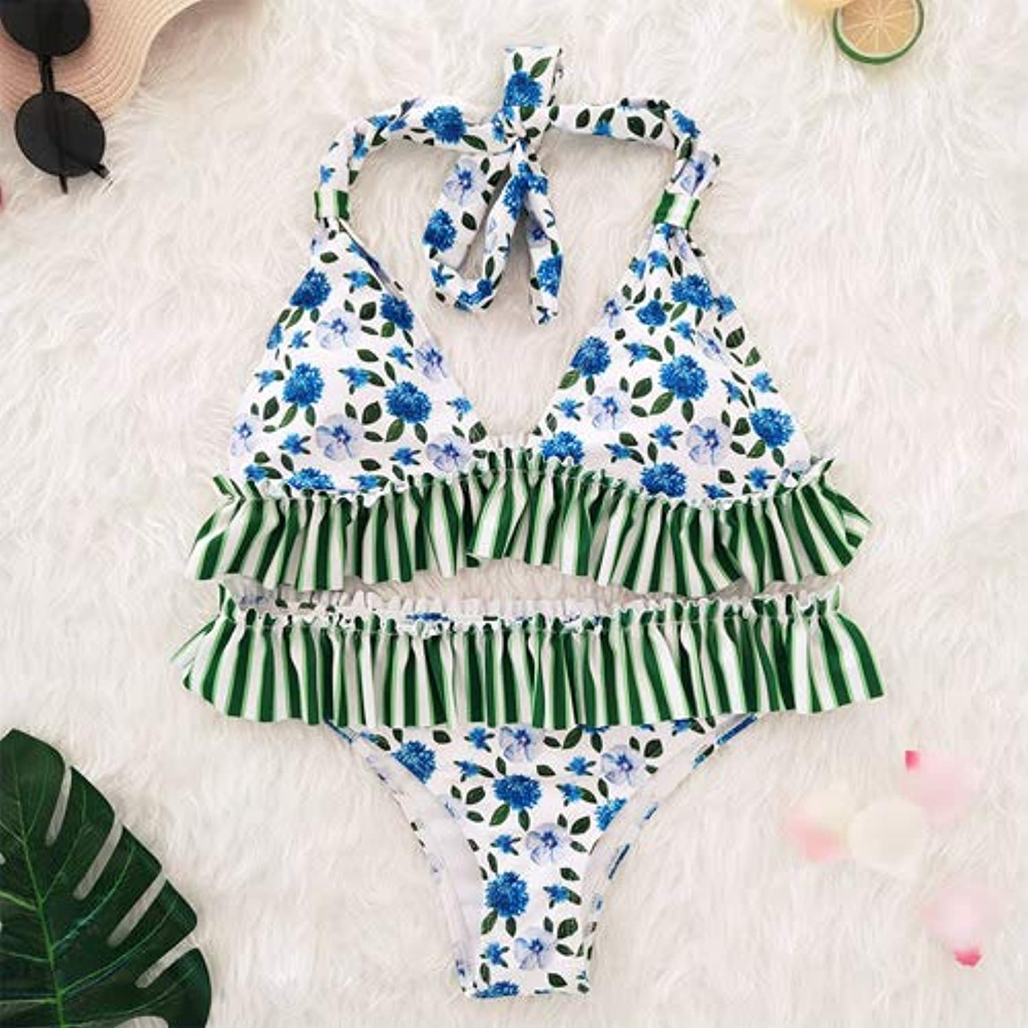 1e239740a42 VIEUNSTA Push up Floral Print Bikini Swimsuit Women Halter Low Waist ...