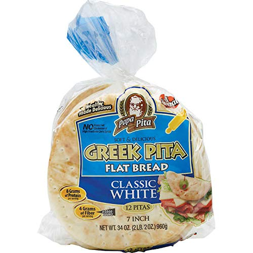 Lot of Ten ( 10 Bags) -GREEK Papa Pita 7' Greek Pita Flat Bread, 12 ct ( each bag) -Great for personal pizzas, wedges for dips and hummus, gyros and sandwiches (Limited Quantity Available)