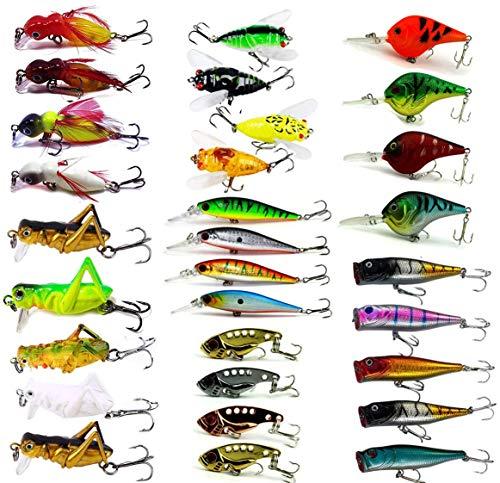 Fishing Lures Set Fly Fishing Flies Kit Insect Cicada Crickhopper Hard...