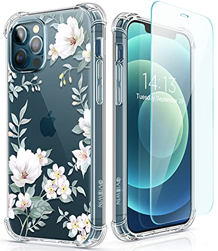 GVIEWIN for iPhone 12 Pro Max Case with Screen Protector, Floral Clear Women Phone Case Flower Shockproof Full Body Protective TPU Bumper Cover 6.7 Inch (White)