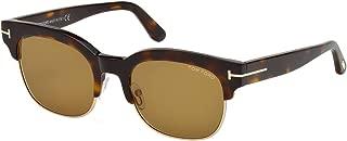 2018 Tom Ford Harry-02 FT0597 56E Men Tortoise Gold T Clubmaster Square Sunglasses