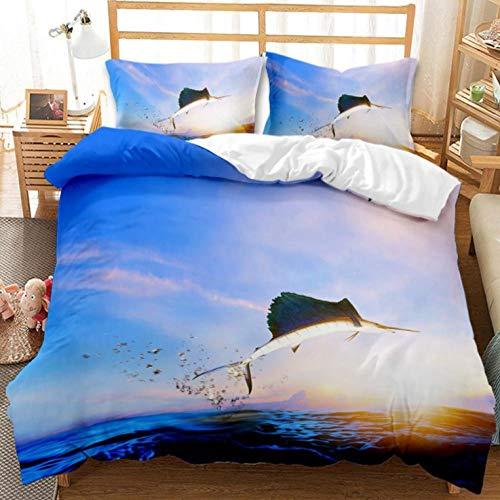 YHHAW Duvet Cover Sets,3D ocean swordfish and sunrise pattern Print,Soft Microfiber duvet sets pillowcase,3 Pieces (1 Duvet Cover + 2 Pillow cases) Bedding Sets-Double 200x200cm