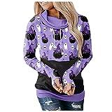 NHNKB Sudadera con capucha para mujer, diseño de Halloween, A violeta., XL