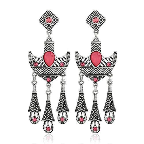 Moda europea y americana personalidad retro en forma de ancla pendientes largos a rayas temperamento pendientes de diamantes de estilo étnico pendientes