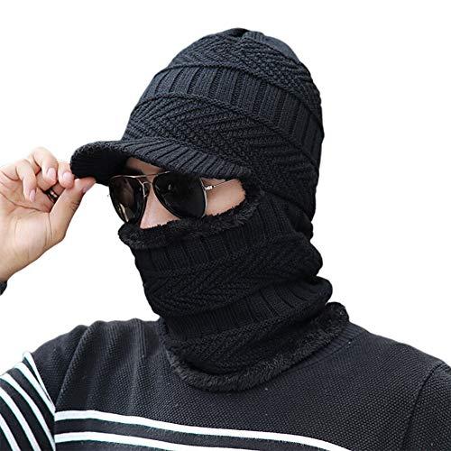 Sombrero Círculo Bufanda Bucle Máscara Tejida Conjunto Forrado con Terciopelo Acogedor Conjunto de Tres Piezas para Exteriores Invierno Cálido Suave Moda Adecuado para Adulta Hombre Mujer,Negro