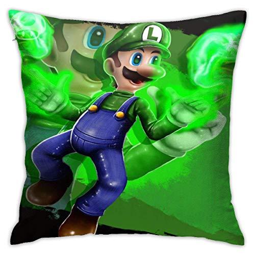 Super Smash Bros Mario Luigi - Fundas de cojín decorativas de algodón para sofá o cama de 45 x 45 cm