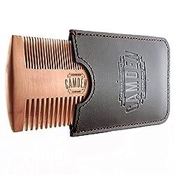 Ultralight beard comb by Camden Barbershop Company ● pear wood ● including case ● for daily beard care & applying beard oil / beard balm