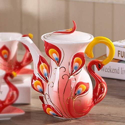 YYAI-HHJU Olla Moka,Cafetera De Pavo Real 3D De Esmalte De Colores con Mango Hervidor De Té De Porcelana De Hueso Creativo Tetera De Leche Vasos Creativos,Estilo 02