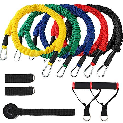 PELLOR Resistance Bands Widerstandsband-Set, Expander-Bänder Fitnessband-Set mit 5 Fitness-Gummischläuchen, 2 Fußschnalle, 2 Griffe, 1 Türschnalle,1 Aufbewahrungsbeutel, Home Gyms Workout