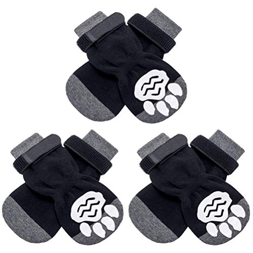 KOOLTAIL 3 Pairs Warm Dog Socks Anti-Slip Pet Winter Dog Boots Dog Shoes Traction Control Paw...