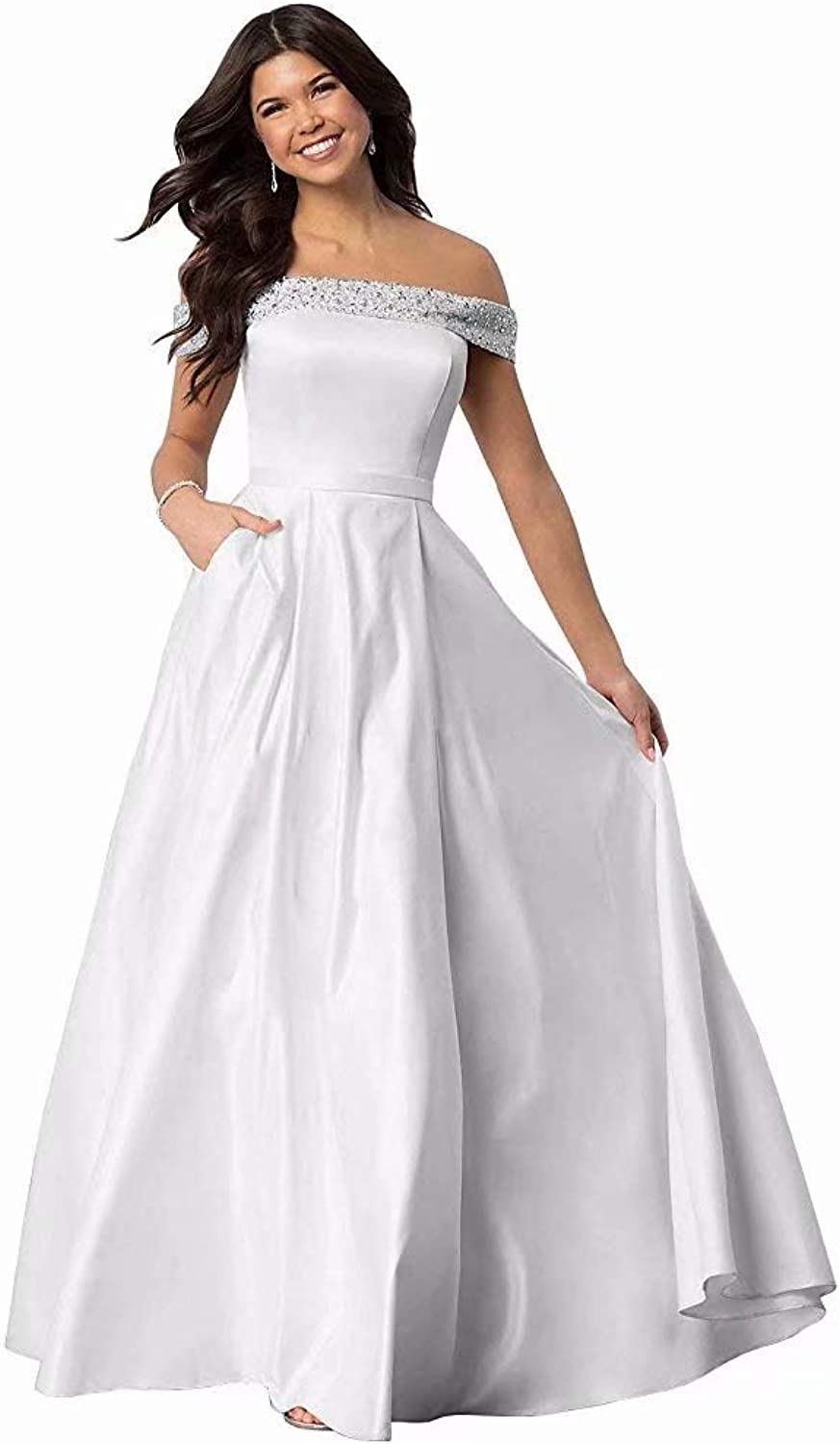 JYDX Women's Off The Shoulder Beaded Satin Prom Dress ALine Formal Gown with Pockets