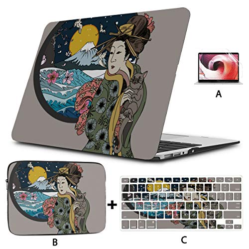 Mac Pro Cover Cute Cartoon Geisha With Japan Travel Macbook 13 Case Hard Shell Mac Air 11'/13' Pro 13'/15'/16' With Notebook Sleeve Bag For Macbook 2008-2020 Version