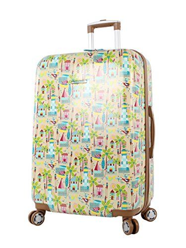 Lily Bloom Hardside Luggage 28' Large Design Pattern Spinner Suitcase For Woman (28in, Beach House)