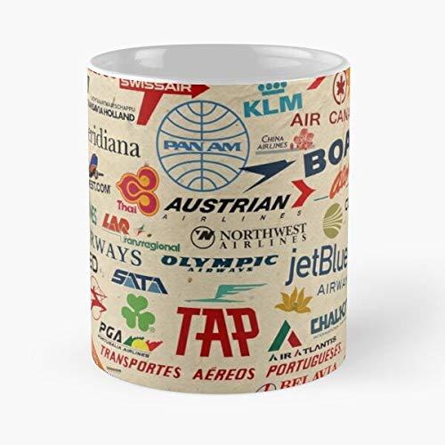 Iberia Airlines Singapore China Pan Tam Am Thai Lufthansa Best Mug holds hand 11oz made from White marble ceramic