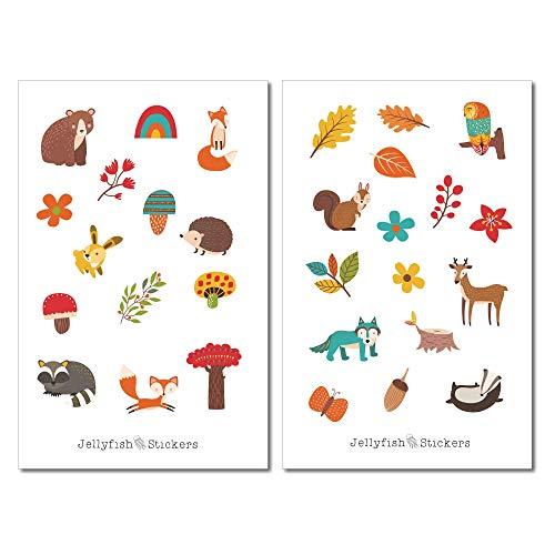 Waldtiere Herbst Sticker Set | Süße Aufkleber | Journal Sticker | Tiere Sticker | Planersticker | Sticker Bär, Fuchs, Wald