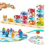 VATOS Gioco di Pesca Magnetico di Legno Giocattoli Educativi per Apprendimento dei Bambini di 3 4 5 Anni Giocattolo di Pesca 2 in 1 per i Bambini Piccoli