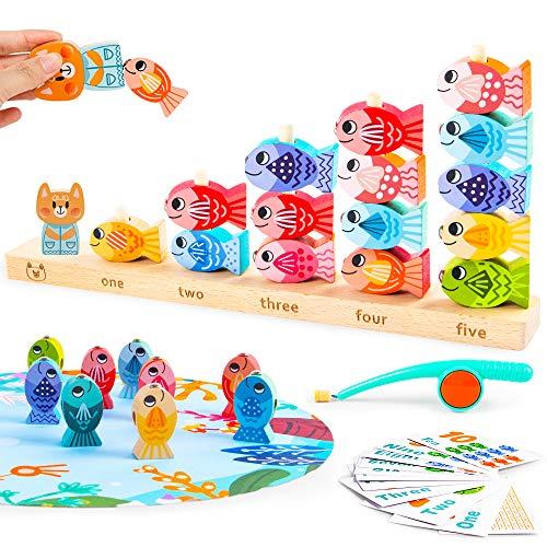 VATOS Magnetisches Holzangelspiel für Kinder Pädagogisches Lernspielzeug für 3 4 5 Jährige Kinder 2 in 1 Hölzernes Angelspielzeug für Kleinkinder Mathe Zählfähigkeiten Vorschule für Jungen Mädchen