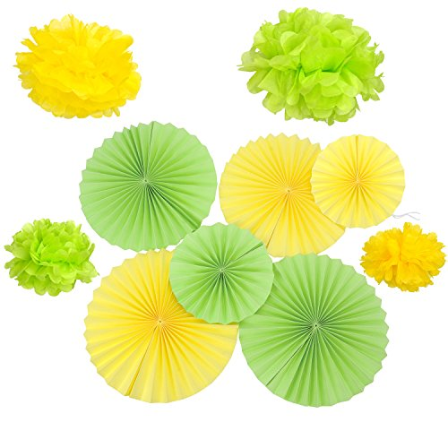 Lot de 10 Vert jaune papier Fans Rosaces de Pâques à suspendre Ornement enfant fête décoratifs