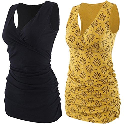 KUCI Damen still-tank top, mutterschaft pyjama tops nursing cami schlaf-bh für das stillen klein schwarz + gelb print / 2pack