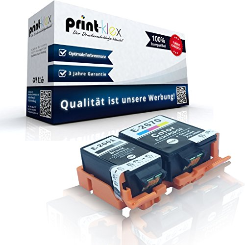 2x kompatible XL Tintenpatronen für Epson Workforce WF 100 W T266 T267 Schwarz + Farbig - Eco Office Serie