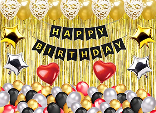 Theme My Party 70 Pcs birthday decoration kit metallic latex balloons - Red, Gold, Silver, Black - 3 gold Foil Fringe and Foil...
