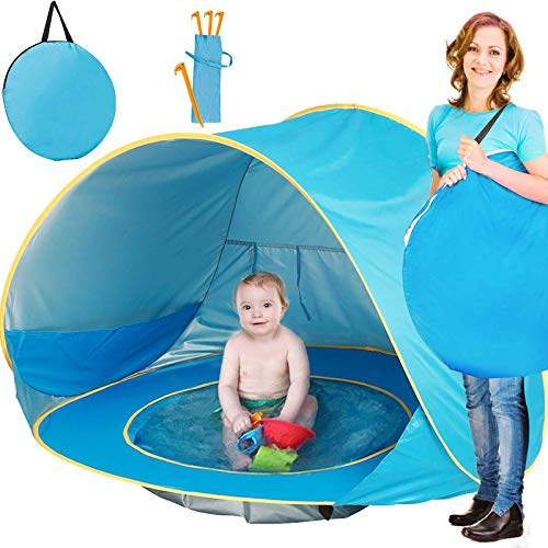 TURNMEON Baby Beach Tent, Pop Up Portable Sun Shelter with Pool, 50+ UPF UV Protection & Waterproof 300MM, Summer Outdoor Tent for Aged 3-48 Months Baby Kids Parks Beach Shade (Blue)