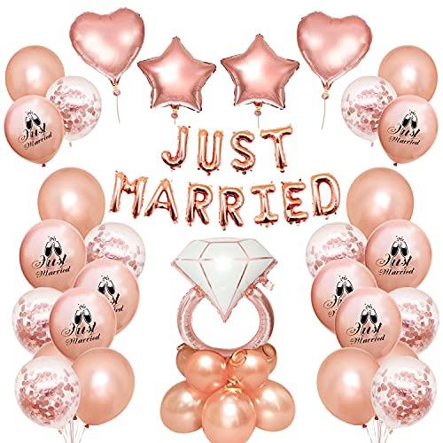 Just Married Set di Decorazioni Per Palloncini, Rosa Just Married Palloncini Adatto Per Palloncini Per Addio al Nubilato Decorazioni per Addio al Nubilato Decorazioni Per Feste di Matrimonio