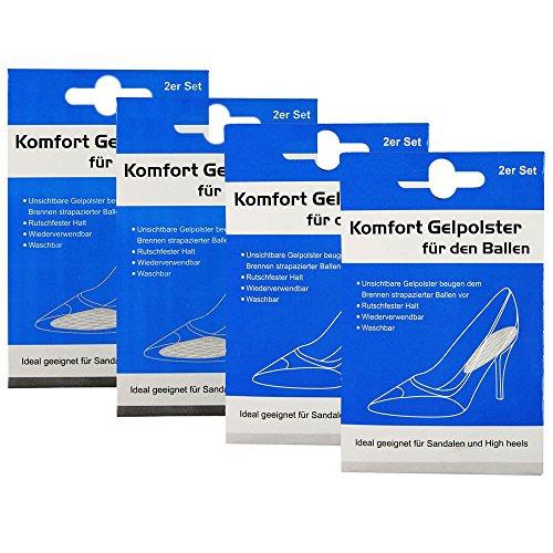 COM-FOUR® set van 8 comfortabele gelkussentjes gelkussentjes voor hiel en hiel - ideaal voor sandalen en hoge hakken