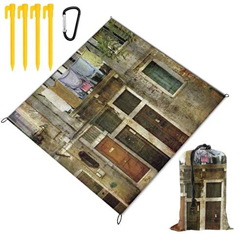 WINCAN Manta de Picnic 145x150cm,Venecia Antigua fachada del Edificio Degradado con Ropa colgada Murano Island Grunge Architect,Mantas de Playa al Aire Libre Impermeable Impermeable Estera