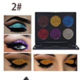 Glitter Polvo Paleta de Maquillaje Profesional, Ruwhere 6 Colores Purpurina Gel Arte de Uñas Decoración cara cuerpo labios sombra de ojos maquillaje con purpurina Maquillaje de Ojos Sombra